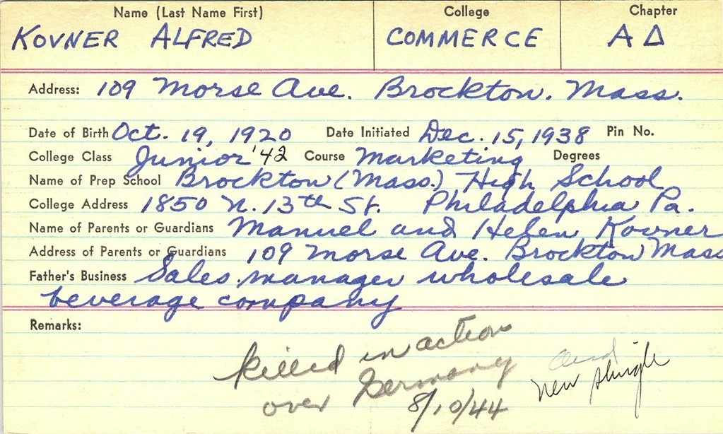 Alfred Kovner pledge card