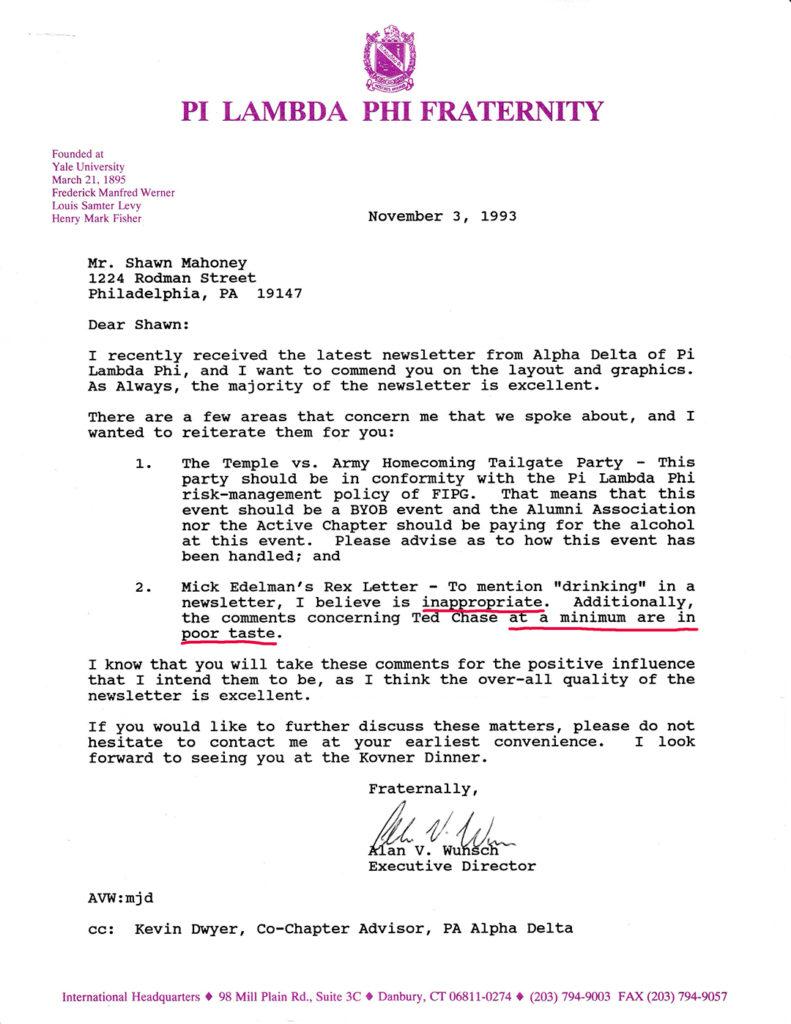 Alan Wunsch poor taste letter