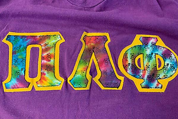 Pi Lam tye dye letters